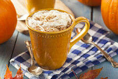 Autumn Pumpkin Spice Latte. With Milk and Cream stock images