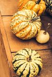 Autumn Pumpkin Thanksgiving Background - calabazas anaranjadas sobre fondo oxidado foto de archivo