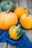 Autumn Pumpkin Thanksgiving Background - orange Kürbise über wo stockbild