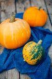 Autumn Pumpkin Thanksgiving Background - orange pumpkins over wooden table. Mottled orange-green pumpkin, closeup, royalty free stock photography