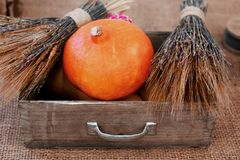 Autumn Pumpkin Thanksgiving Background - oranje pompoenen over houten lijst Royalty-vrije Stock Afbeeldingen