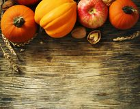 Autumn pumpkins and apples with fall leaves on wooden background. With copy space. Autumn composition Royalty Free Stock Photography