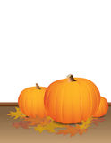Autumn Pumpkins and Colorful Leaves. A background containing pumpkins and autumn leaves and colors. Large white background for inclusion of text or other design royalty free illustration