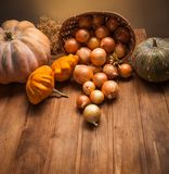 Autumn pumpkins and other fruits. And vegetables on a wooden table royalty free stock images