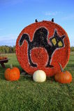 Autumn pumpkins and straw bales Royalty Free Stock Image