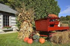 Autumn pumpkins,trailer, and corn shocks. The orange pumpkins, corn shocks, and straw bales depict colors of the fall season Stock Photos