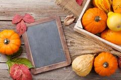 Autumn pumpkins on wooden table Stock Image