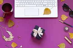 Autumn purple fashion business flat lay with fall leaves and a gift for Thanksgiving day. Royalty Free Stock Image