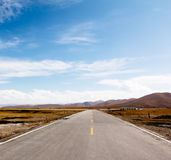 Autumn Qinghai Lake Road shares Royalty Free Stock Photo