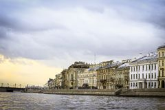 Autumn quay of the Neva River in Saint Petersburg, Russia royalty free stock images