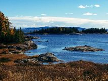 Autumn in Quebec, Canada. September in Sept-Iles , St-Lawrence river, Riviere des Rapides stock photography