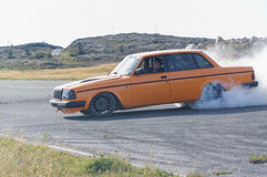 Autumn racing modified car drifting in Norway Stock Image