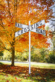 Autumn Railroad Crossing Sign Stock Images