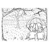 Autumn rain. Black and white illustration with two children standing in the rain with an umbrella Royalty Free Stock Images