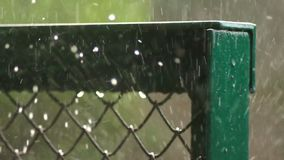 Autumn rain city place. Autumn heavy rain at city place stock video