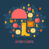 Autumn rain composition in flat style Royalty Free Stock Photography