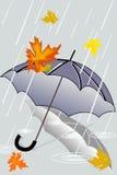 Autumn rain and forgotten umbrella Royalty Free Stock Photos