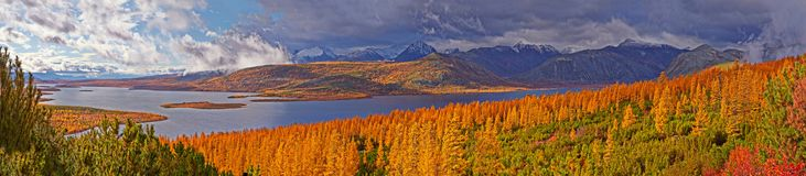 Autumn. After a rain. Jack London`s lake. Kolyma stock photography