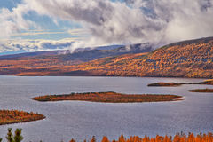 Autumn. After a rain. Jack London's lake. The Magadan area. Kolyma Royalty Free Stock Image