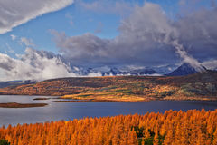 Autumn. After a rain. Jack Londons lake. The Magadan area. Kolyma Stock Photography