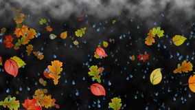 Autumn Rain. Looping video animation of falling leaves and raindrops over a foggy background royalty free illustration