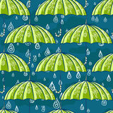 Autumn rain pattern. Rain seamless patter. Water drop raining seamless background with floral umbrella Royalty Free Illustration