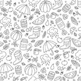 Autumn and rain. Seamless pattern in doodle and cartoon style. vector illustration