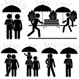 Autumn Rain Situations. Stick Figure Pictogram Icon Royalty Free Stock Image