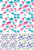 Autumn rain and umbrella seamless background. Wallpaper stock illustration