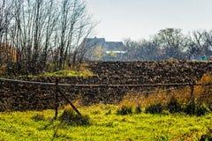 Autumn rain in the village Stock Photography