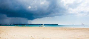 Autumn rain volleyball beach Stock Image
