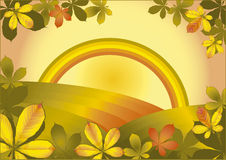 Autumn rainbow, also  in EPS. Autumn countryside framed with chesnut leaves Stock Image