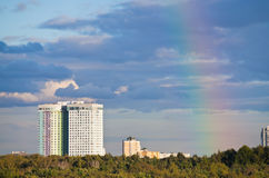 Autumn rainbow under city park Royalty Free Stock Images