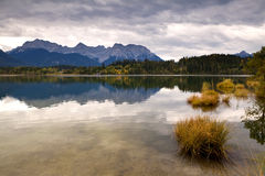Autumn rainy weather on Barmsee lake Stock Images