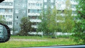 Autumn rainy weather from inside car stock video footage