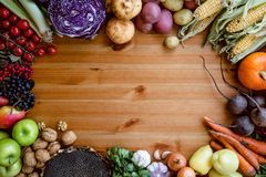 Autumn raw vegetables from garden on wooden table. stock photography