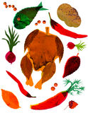 Autumn recipes. Roast collage of autumn leaves Stock Photos