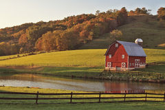 Autumn Reflection of Barn. Classic red barn with reflection in southern West Virginia Stock Photos