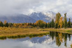 Autumn Reflection Landscape no Tetons fotos de stock