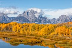 Autumn Reflection Landscape at Oxbow Bend Stock Image