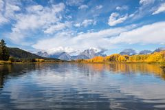 Autumn Reflection at Oxbow Bend. A scenic autumn reflection landscape at oxbow bend in Grand Teton National Park Royalty Free Stock Photos