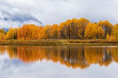 Autumn Reflection in the Tetons. A scenic autumn reflection in the Tetons Royalty Free Stock Photo