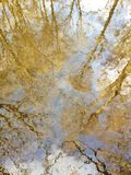 Autumn reflection of trees and sky in curled water. Abstract reflex of trees and sky in curled water in autumn royalty free stock photos