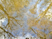 Autumn reflection of trees and sky in curled water. Abstract reflex of trees and sky in curled water in autumn royalty free stock photography