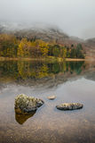 Autumn Reflections. The Autumn colours are reflected perfectly in Blea tarn on a still November day Stock Images