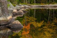 Autumn Reflections Siamese damm vildmarkområde för Siamese damm, Adirondack Forest Preserve, New York USAAdirondack skog royaltyfri foto