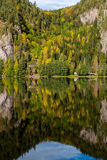 Autumn reflections of a steep tree covered cliff in a lake Stock Images