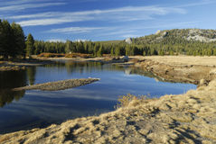 Autumn reflections at Tuolumne River Royalty Free Stock Photos