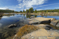 Autumn reflections at Tuolumne River in Yosemite Royalty Free Stock Photography