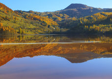 Autumn in the reflective water. In Transylvania Royalty Free Stock Photos
